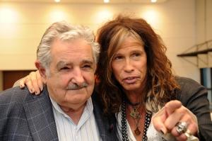 Mujica e Steven Tyler Foto: Divulgação/Presidência do Uruguai