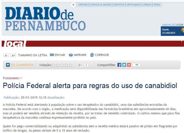 Reprodução da notícia do Diário de Pernambuco  com informação falsa.